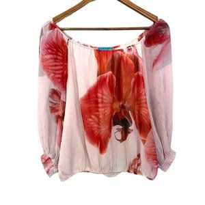 Alice + Olivia 100% Silk Orchid Smocked Blouse